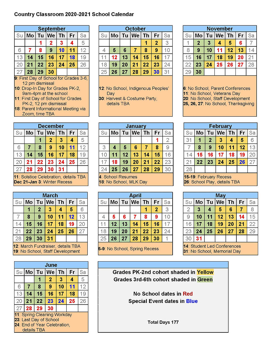 Country Classroom Calendar 2020-2021