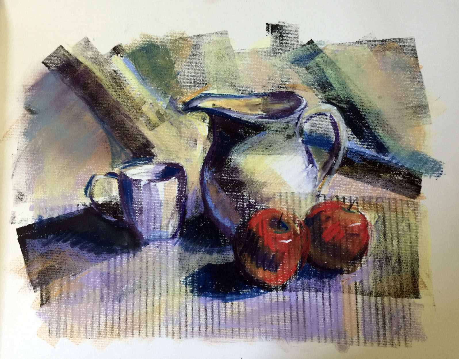 Apples, cup and pitcher