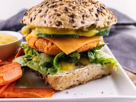 veganburger with a sweet potato-coconut patty