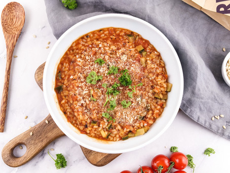 tomato-zucchini one pot with brown rice