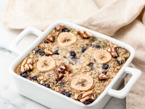 gebackenes Blaubeer-Zucchini Oatmeal / vegan blueberry zucchini baked oatmeal