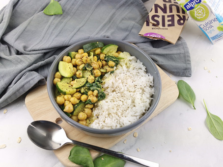 Kichererbsen- Zucchini Curry mit Reis