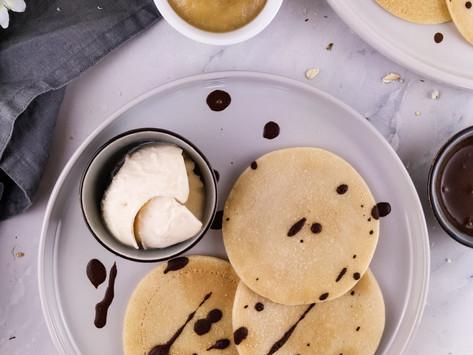 coconut pancakes with vegan ice cream