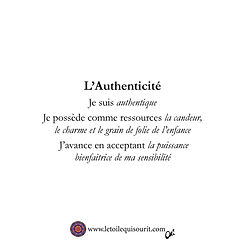 Authenticité affirmations positives au d