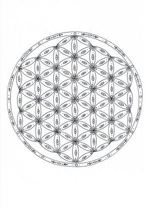 Mandala à colorier - Fleur de vie et motifs  (à télécharger)