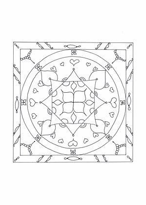 Mandala à colorier - Trèfle et bijoux (à télécharger)