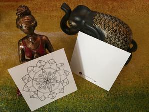"""Carte postale avec mandala à colorier: """"Fleur"""""""