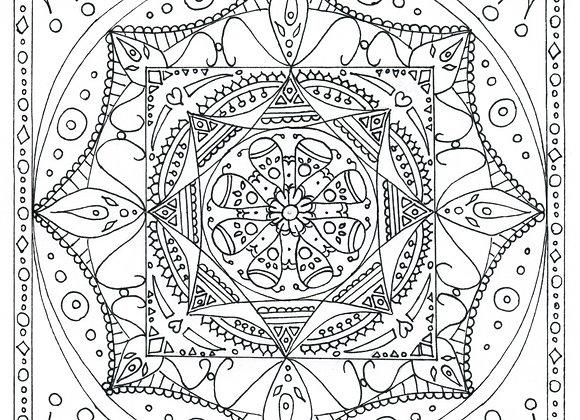 Mandala à colorier - Temple