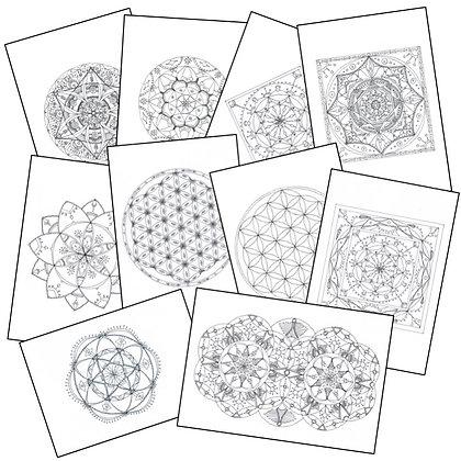 Lot de 10 Mandalas à colorier (à télécharger) - Lot 1