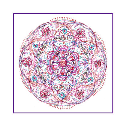 """Carte postale simple - Mandalâme """"La Planète"""" (cadre violet)"""
