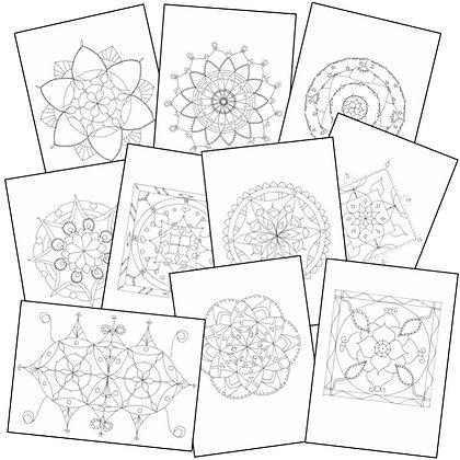 """Lot de 10 Mandalas """"moins détaillés"""" à colorier (à télécharger) - Lot 2"""