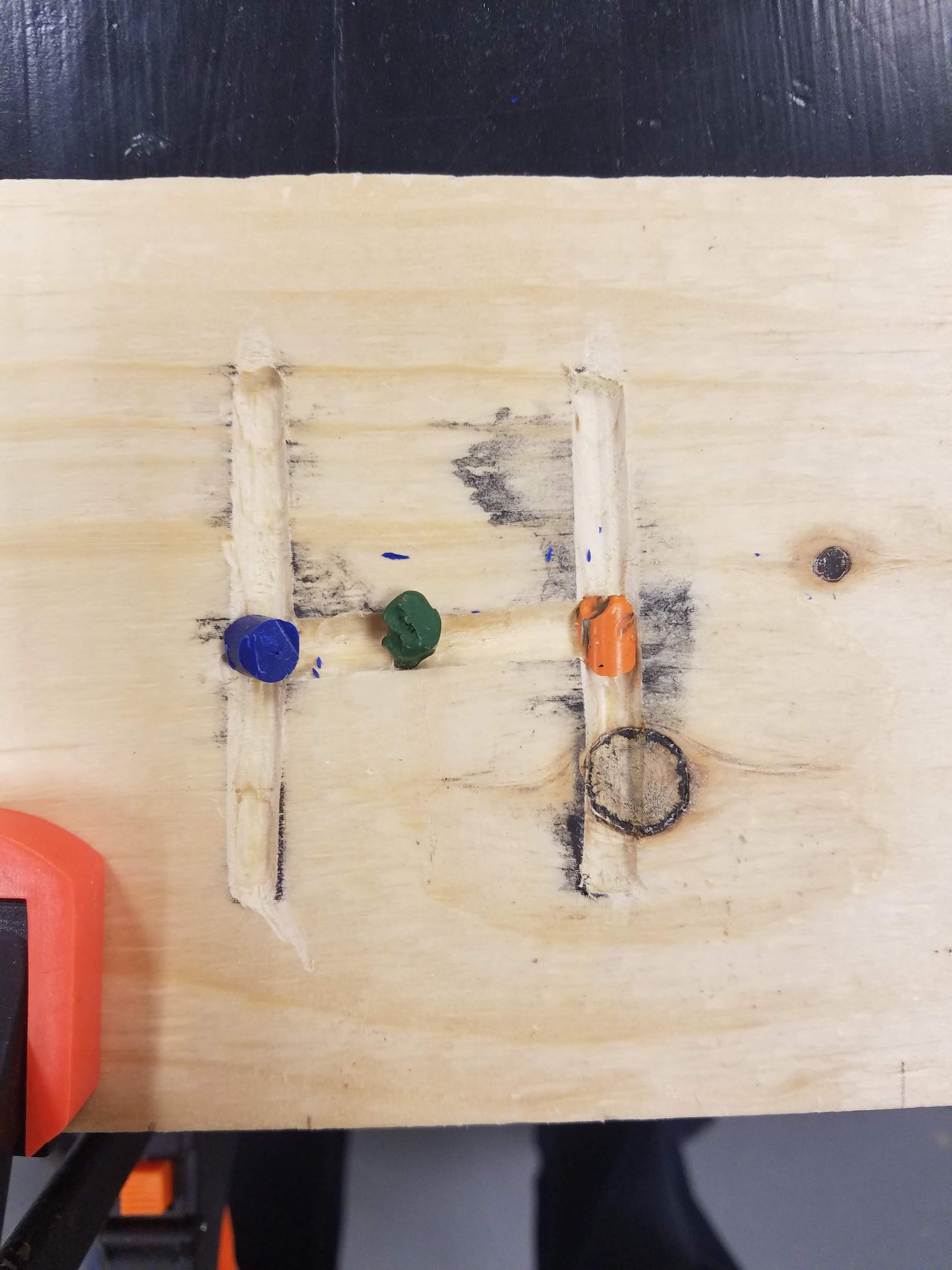 inlay, crayon,  epoxy, resin, wooden,  step stool, pine, Dremel router, crayola