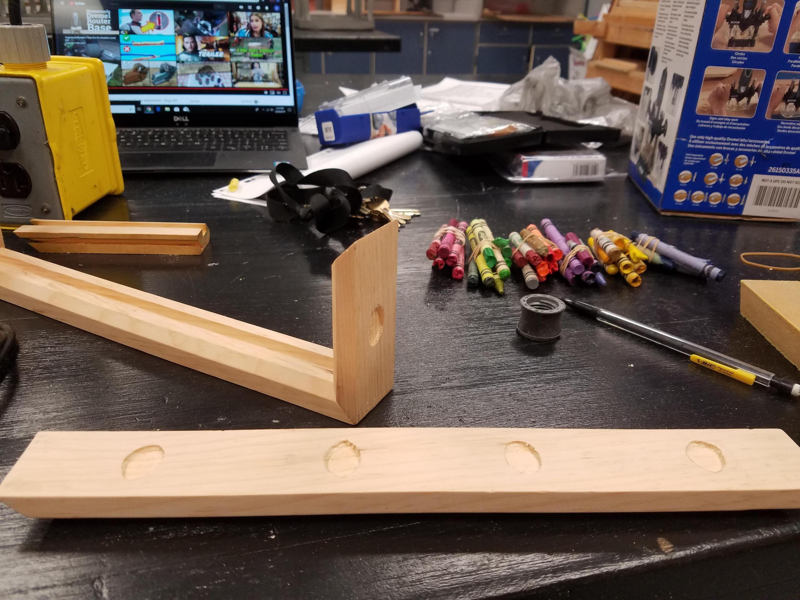 wood shop, DIY, Wood projects, wood frame, shadow box, crayola crayon, dremel router, inlay, epoxy