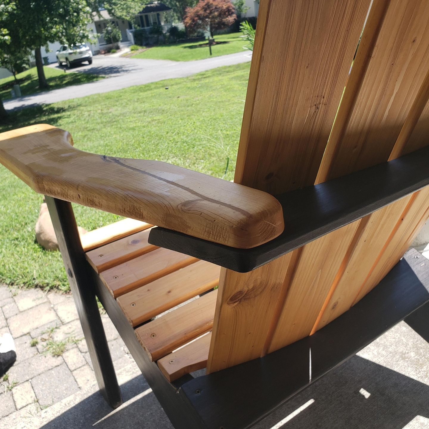 Stained two-toned Adirondack chair in summer oak and ebony