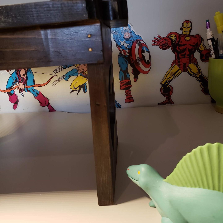 inlay, crayon,  epoxy, resin, wooden,  step stool, pine Dremel router, crayola, black, gold, blue, grey stain, mask on, mask off, Heru Da God, Gorilla Epoxy, Naguib Mahfouz, dinosaur