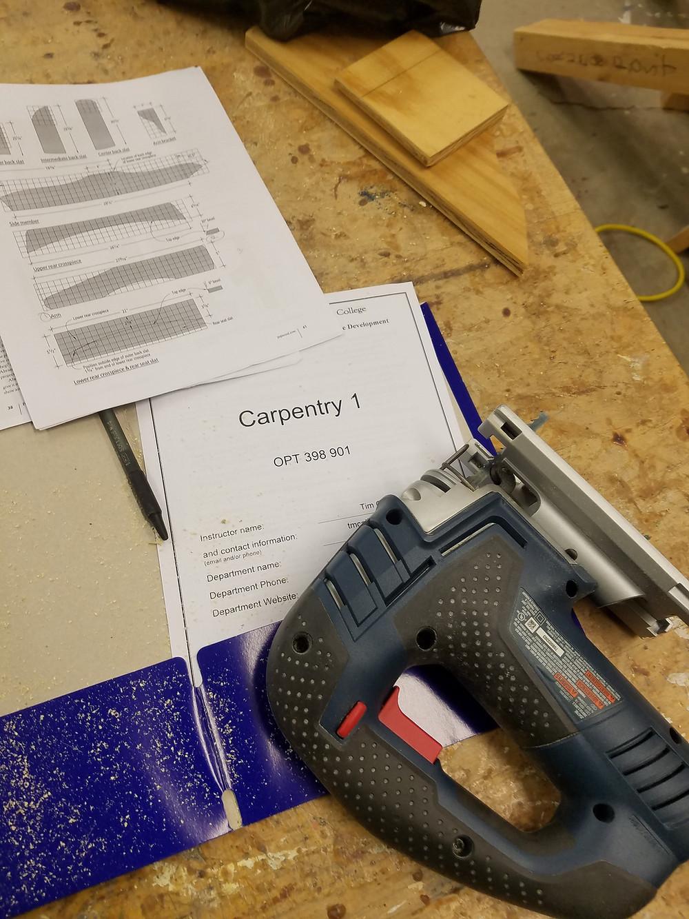 Jigsaw, carpentry, blueprint, plans