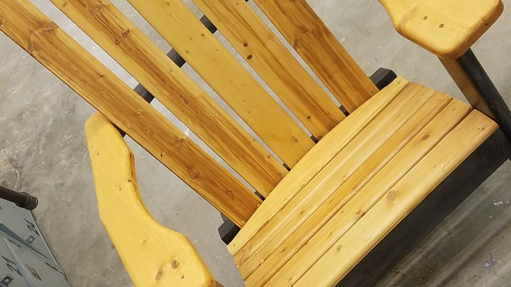 Two-toned Wooden Adirondack Chair Summer Oak and Ebony