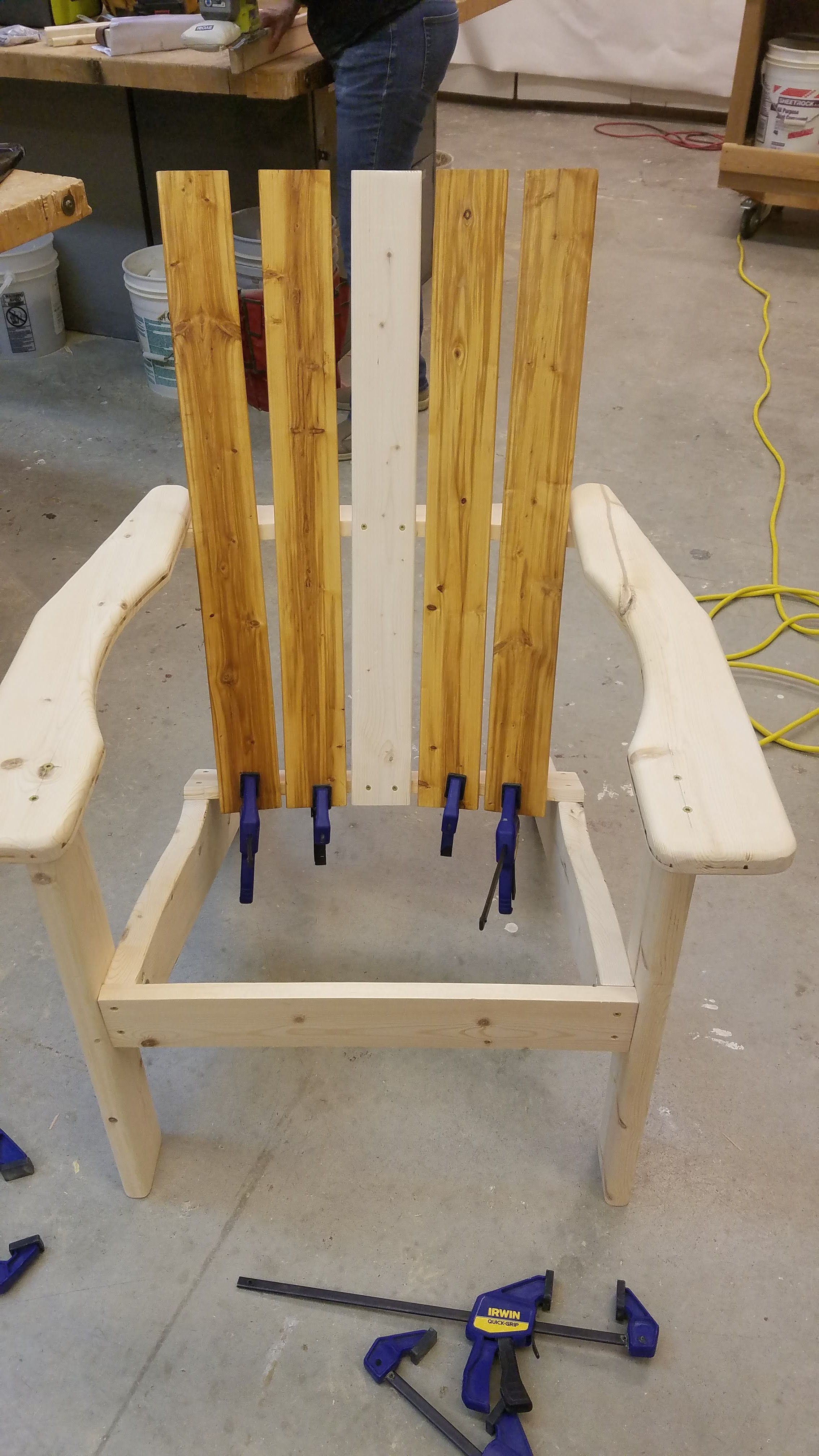 adrirondack chair assembly, clamps, pine, community college