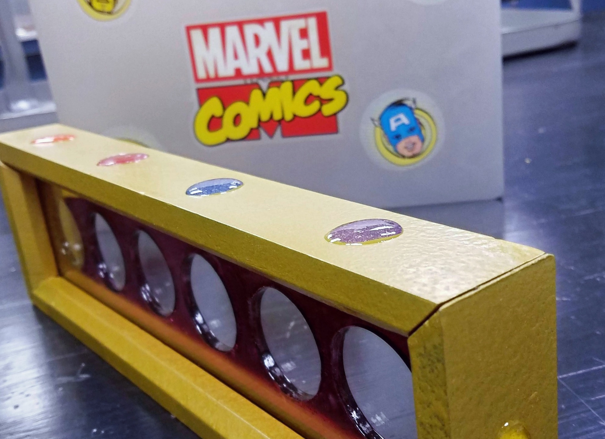Krylon, hammered gold, spray paint,wood shop, DIY, Wood projects, wood frame, shadow box, crayola crayon, dremel router, inlay, epoxy, Infinity Gauntlet, Infinity War, Marvel MCU, super heroes, commemorative coins, black panther, thor, ant-man, Avengers, Endgame, Captain Marvel, Infintiy stones, hulk, spider-man, captain america, iron man