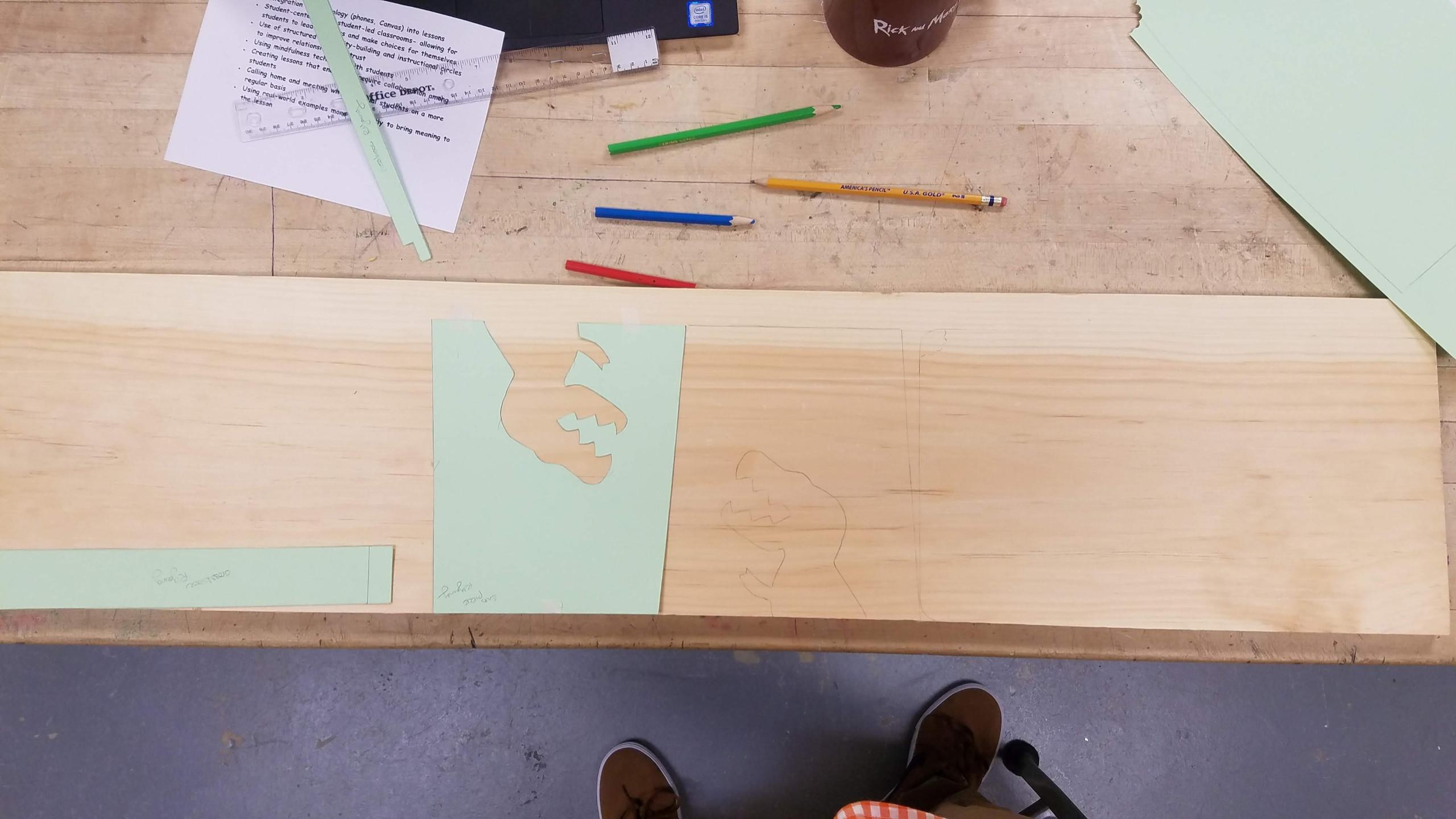 t-rex, dinosaur, kids, woodworking, stool, project, slab, pine, stencil