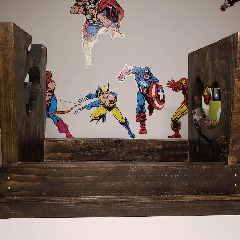inlay, crayon,  epoxy, resin, wooden,  step stool, pine Dremel router, crayola, black, gold, blue, grey stain, mask on, mask off, Heru Da God, Gorilla Epoxy, Naguib Mahfouz