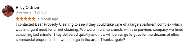 Google Review 1 Bear Property Cleaning
