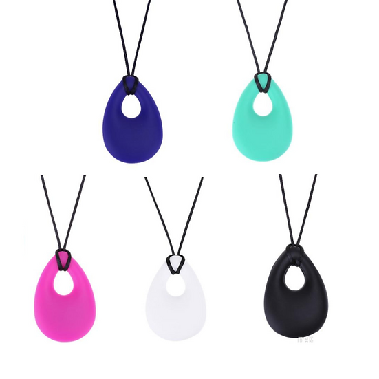 Adult teething teardrop pendant chewable necklace for baby, BPA free