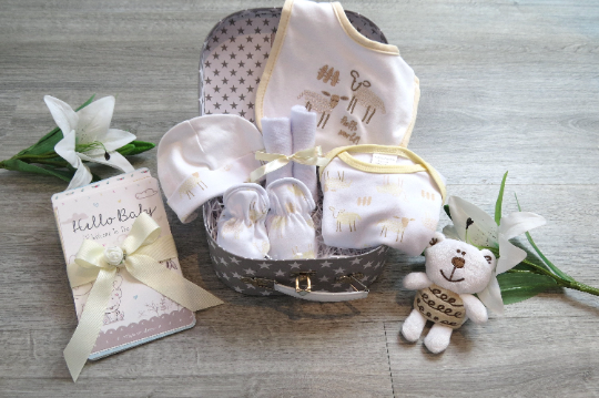 Baby gift set with teddy, Baby hamper, Sheep set