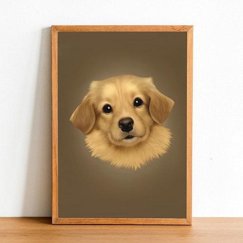 Custom Pet Portrait - 1x Head (50% Deposit)