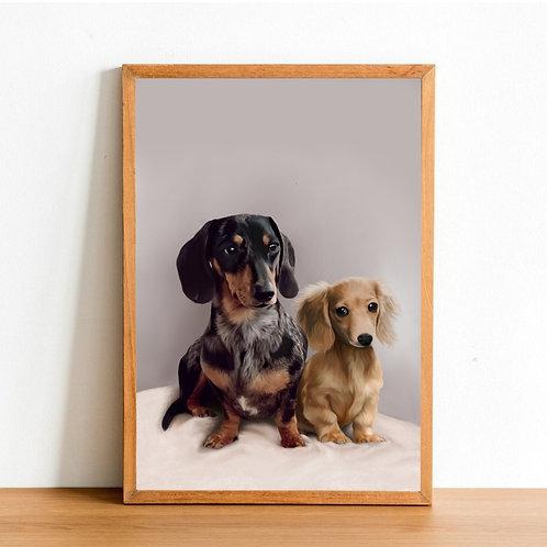 Custom Pet Portrait - 1x Head & Body (50% Deposit)