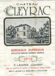 Chateau Cleyrac 1973