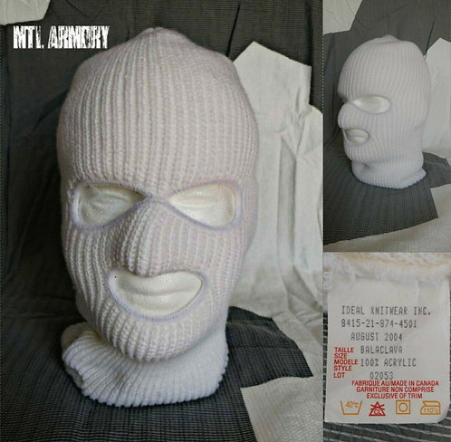 CANADIAN FORCES ISSUED WHITE 3 HOLE BALACLAVA