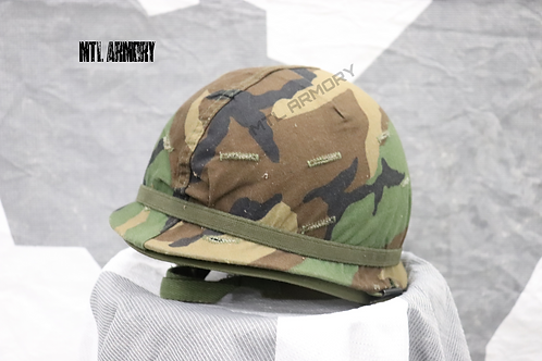 US ARMY M1 HELMET WITH WOODLAND COVER