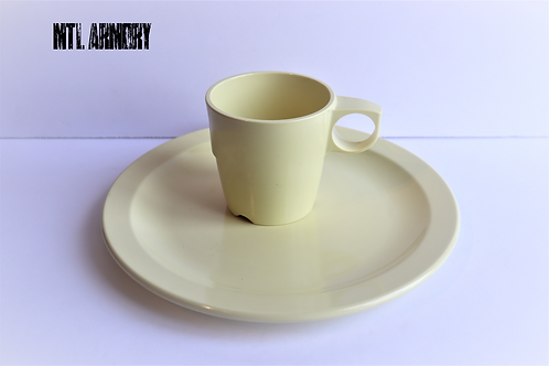 CANADIAN ISSUED YELLOW MELMAC PLATE AND CUP SET