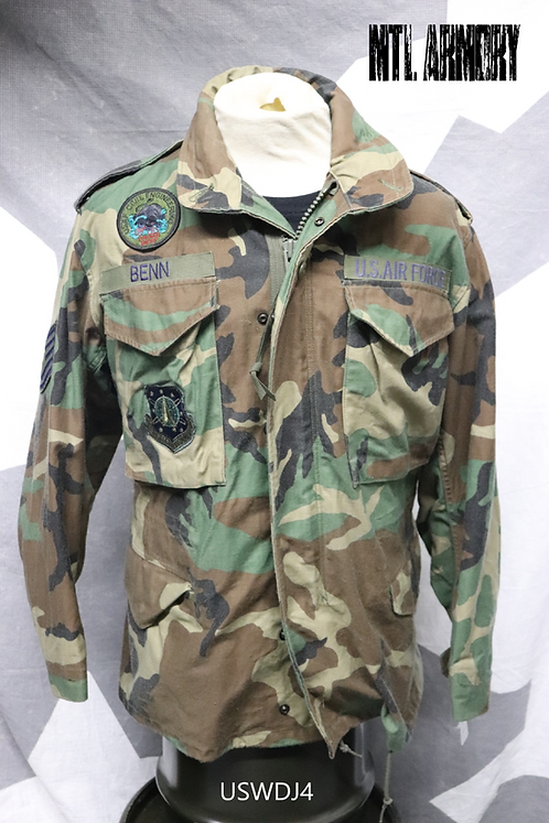 USAF WOODLAND CAMO M65 JACKET SIZE SMALL-SHORT