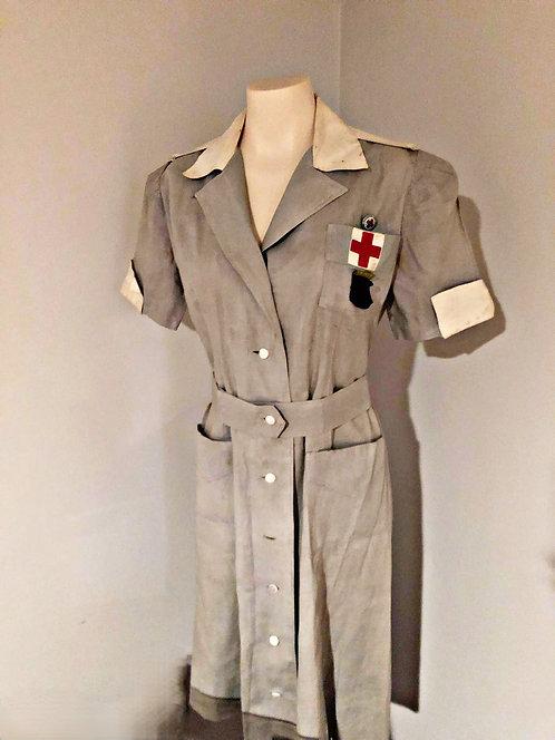 WWII RED CROSS VOLUNTEER NURSES UNIFORM WITH PINS
