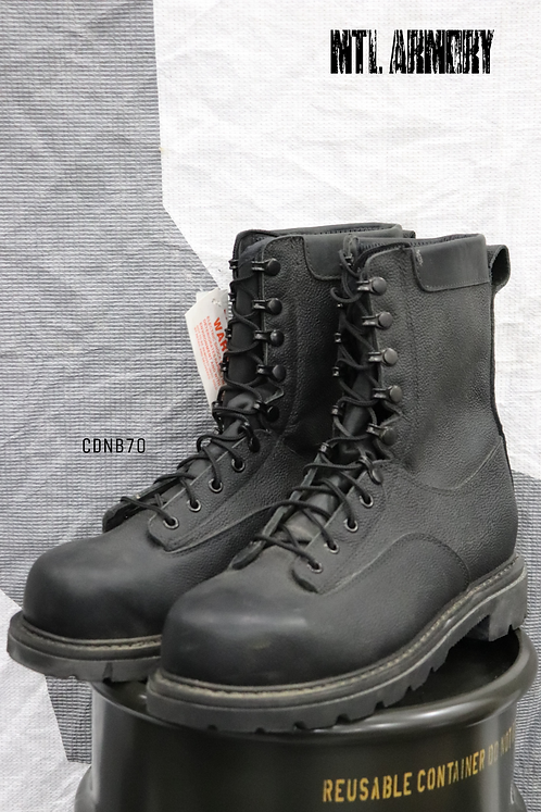 NEW CANADIAN FORCES BLACK STEEL TOE BOOTS SIZE 295/104