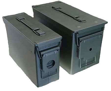 NEW SET OF 2 STEEL AMMO BOXES  .30 AND .50
