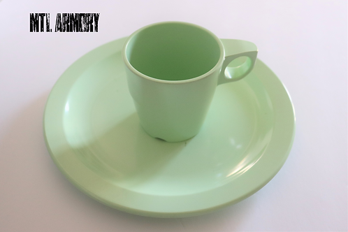 CANADIAN ISSUED LIGHT GREEN MELMAC PLATE AND CUP SET