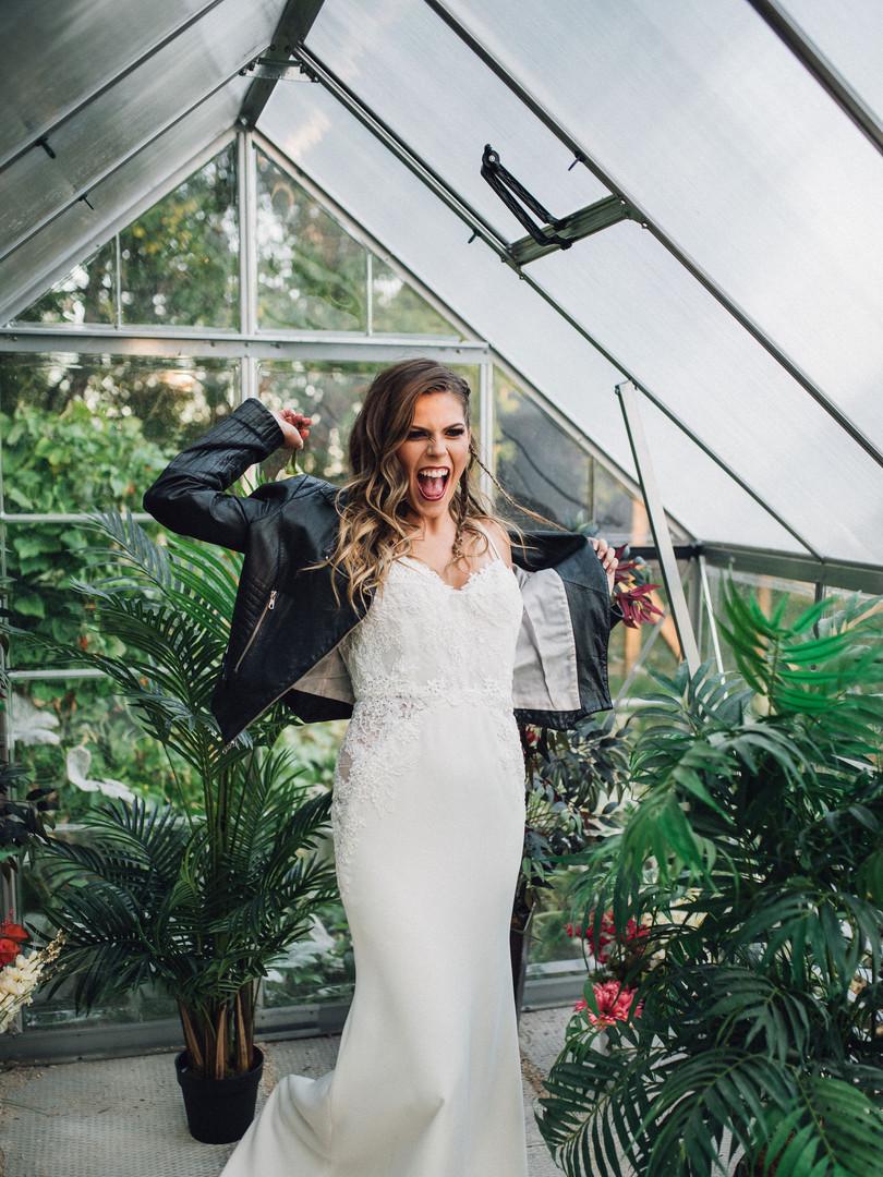 Modern crepe wedding gown.