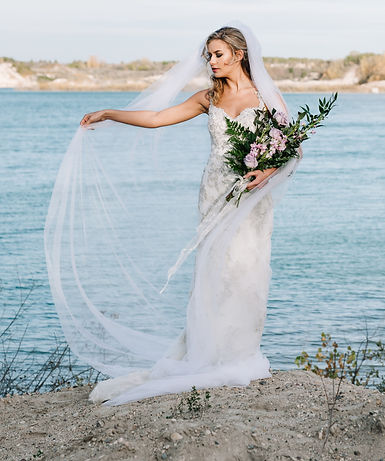 Custom made and preloved veils & hairpieces. Pearl & Birch sells all lengths and styles of wedding veils from unfinished fingertips to lace trimmed cathedrals.