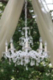 Vintage chandelier availabe from the Vintage Nest in Manitoba offers a stunning focal point against a natural backdrop.