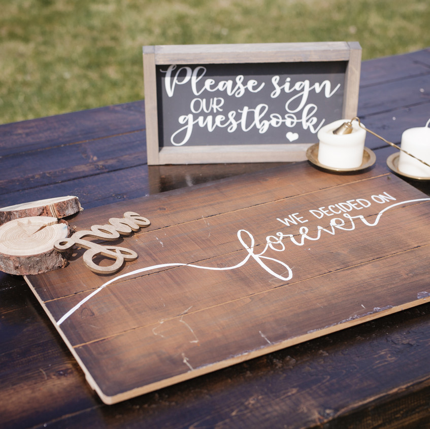 Guest book with hand lettering