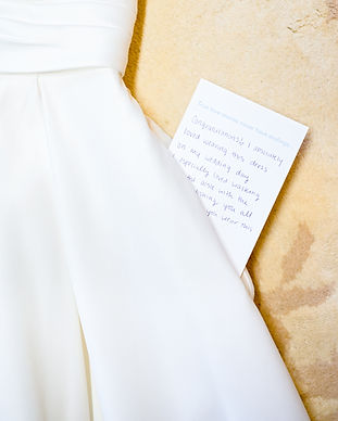 Consignment gown with love note.