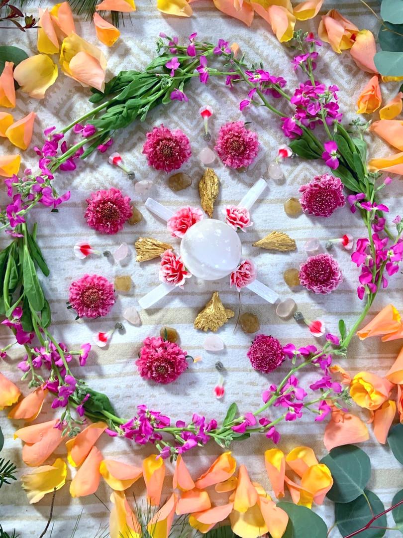 Crystal and flower grid- Self Love workshop