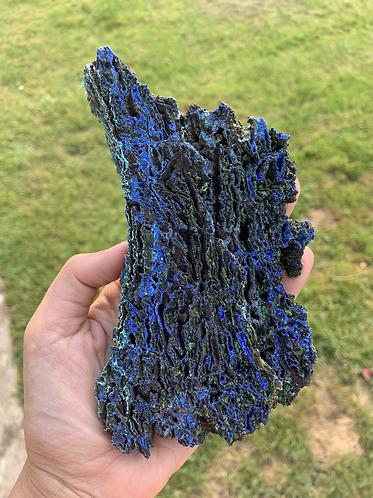 Raw Azurite and Malachite slice- C