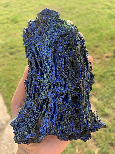 Raw Azurite and Malachite slice-D