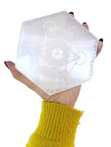 Light Language Selenite etched Metatron's cube