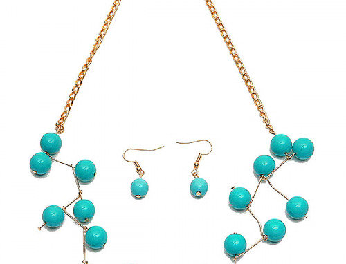 Wired Turquoise Gold Chain Necklace and Earring Set
