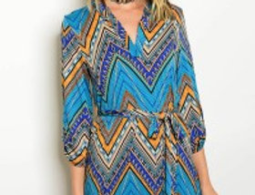 Chevron Belted Dress